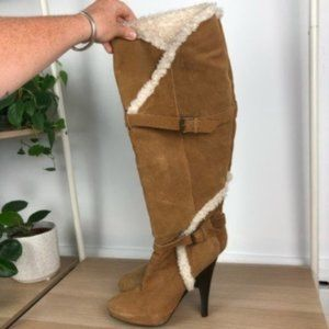H by HALSTON sz 8.5 High shearling lined boots